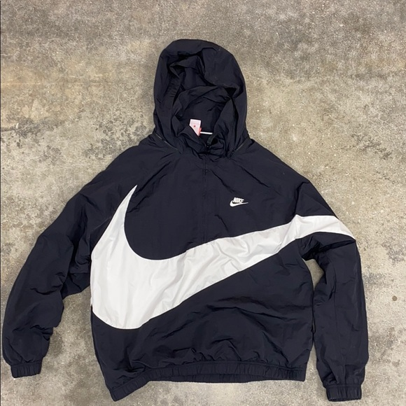 Oversized nike windbreaker half zip hoodie grey size xxl